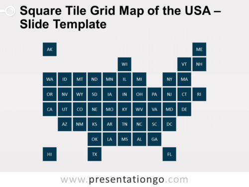 Free Square Tile Grid Map of the USA for PowerPoint