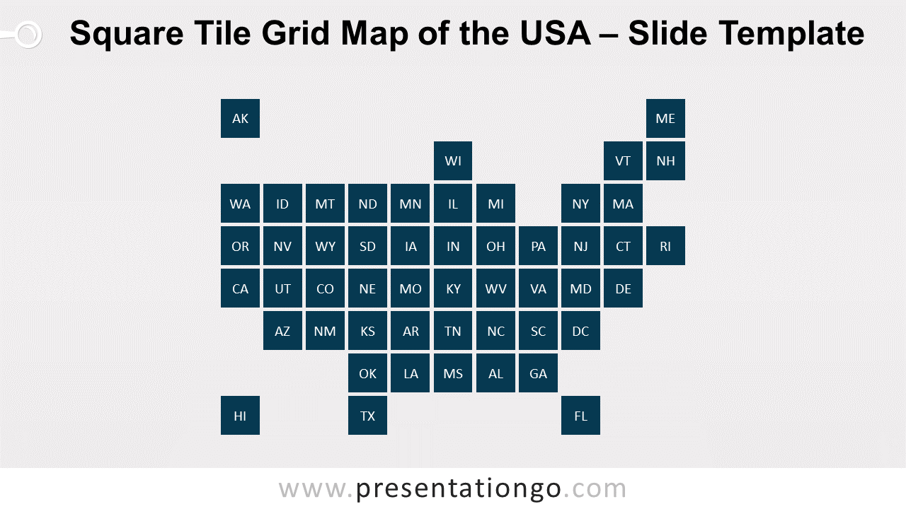 Free Square Tile Grid Map of the USA for PowerPoint and Google Slides
