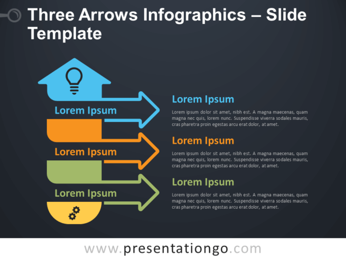 Free Three Arrows Infographics Diagram for PowerPoint