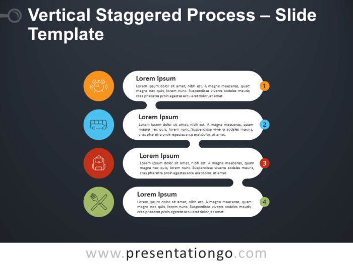 Free Vertical Staggered Process Infographic for PowerPoint