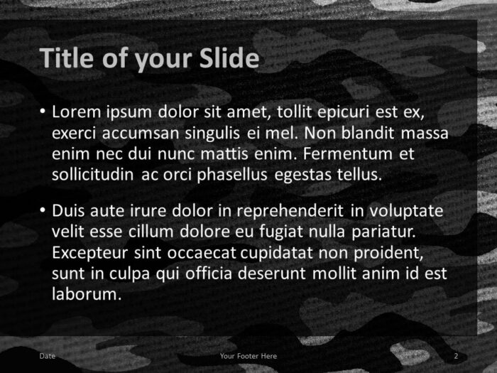 Free CAMO Template for PowerPoint – Title and Content Slide (Variant 1)