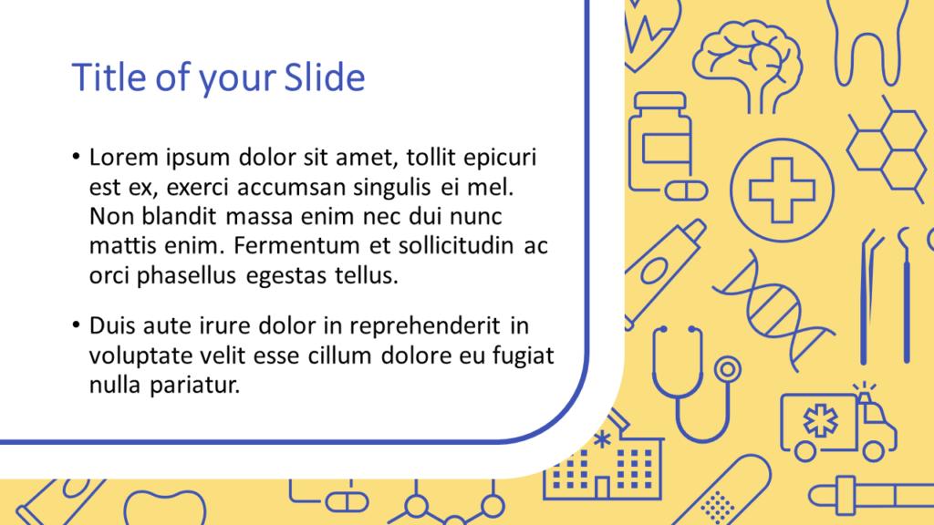 Free Medicons Medical Health Template for Google Slides – Title and Content Slide (Variant 1)