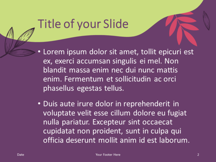 Free Sorbet Leaves Template for PowerPoint – Title and Content Slide (Variant 1)