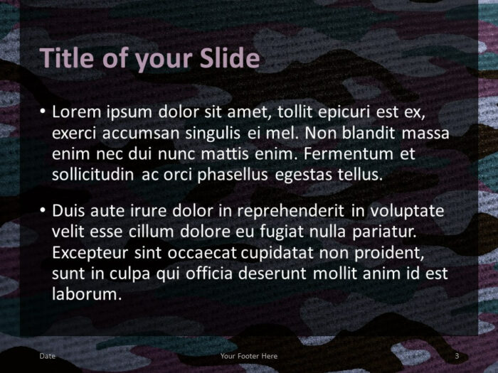 Free CAMO Template for PowerPoint – Title and Content (Variant 2)