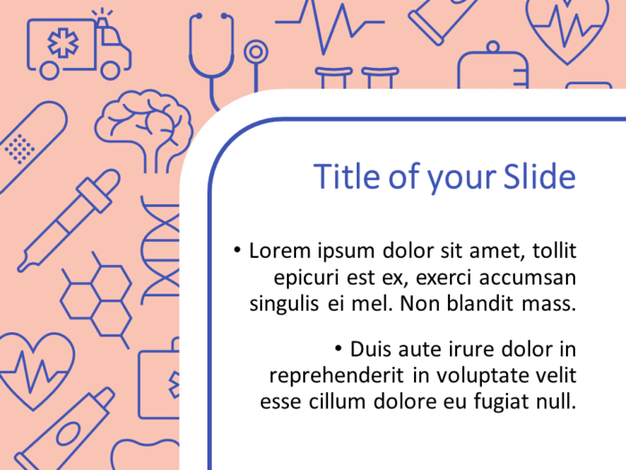 Free Medicons Medical Health Template for PowerPoint – Title and Content (Variant 2)