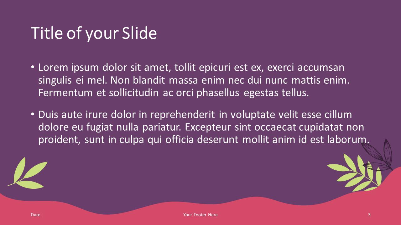 Free Sorbet Leaves Template for Google Slides – Title and Content Slide (Variant 2)