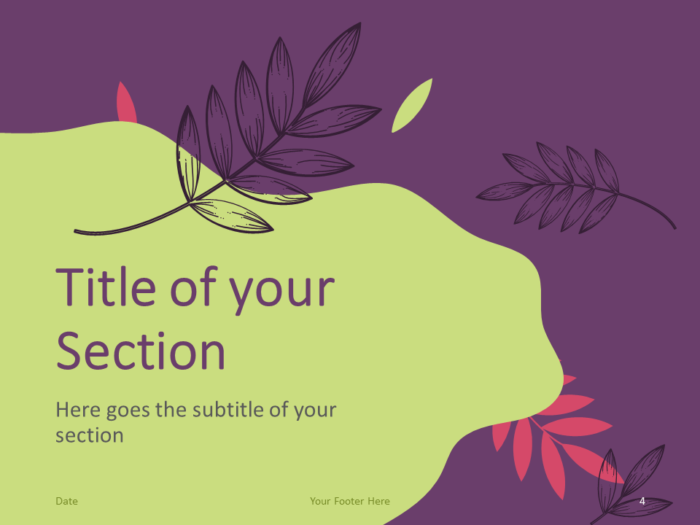 Free Sorbet Leaves Template for PowerPoint – Section Slide (Variant 1)
