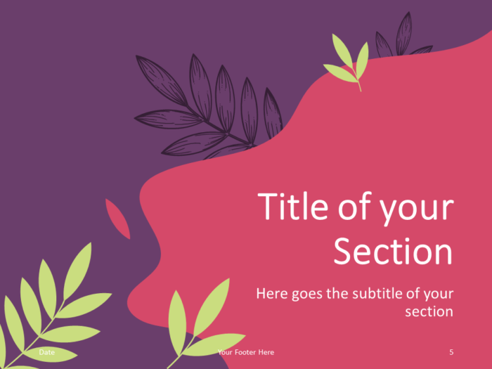 Free Sorbet Leaves Template for PowerPoint – Section Slide (Variant 2)
