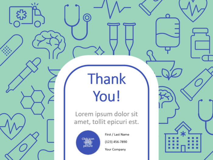 Free Medicons Medical Health Template for PowerPoint - Closing / Thank you