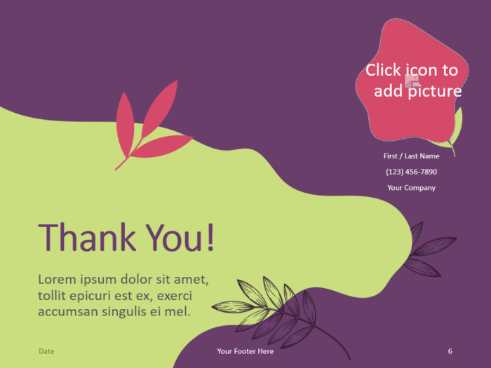Free Sorbet Leaves Template for PowerPoint - Closing / Thank you