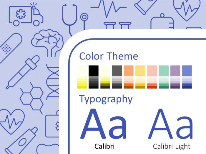 Free Medicons Medical Health Template for PowerPoint – Colors and Fonts