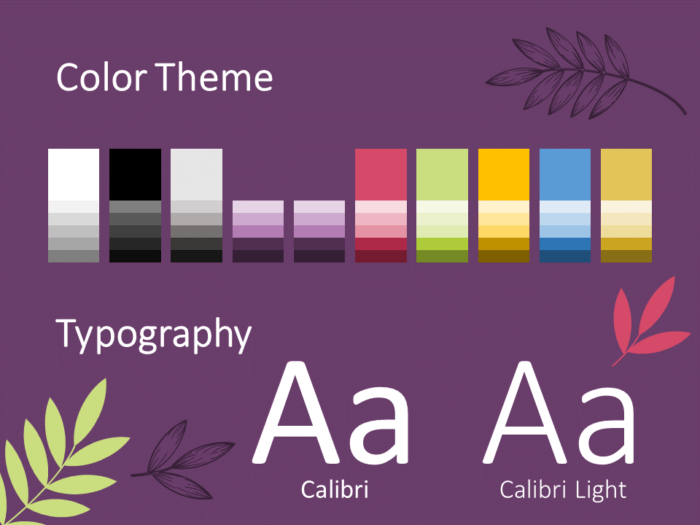 Free Sorbet Leaves Template for PowerPoint – Colors and Fonts