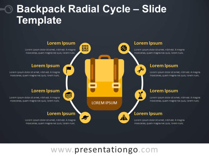 Free Backpack Radial Cycle Diagram for PowerPoint
