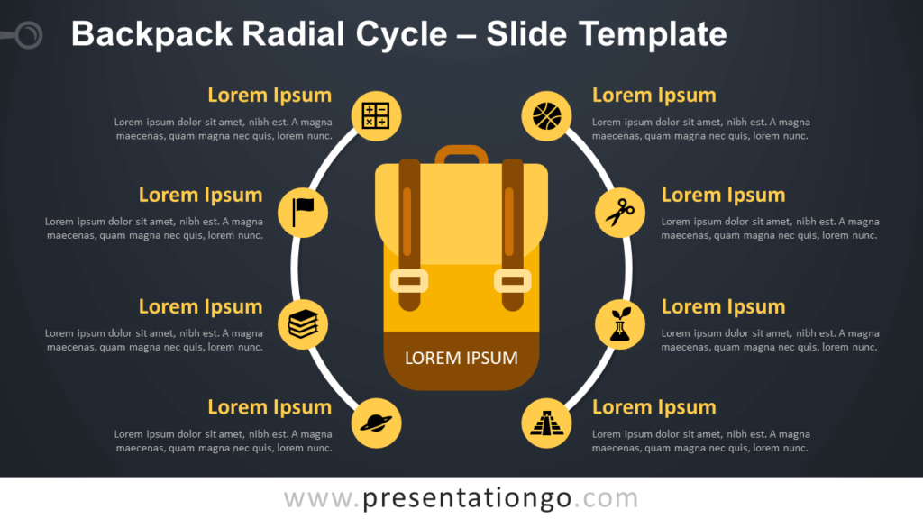 Free Backpack Radial Cycle Diagram for PowerPoint and Google Slides