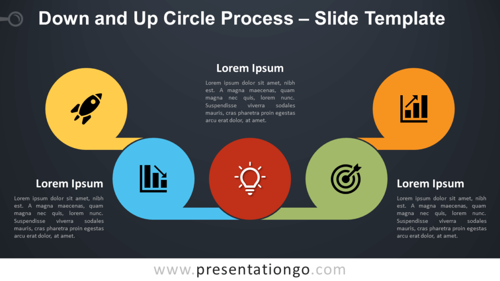 Free Down and Up Circle Process Diagram for PowerPoint and Google Slides
