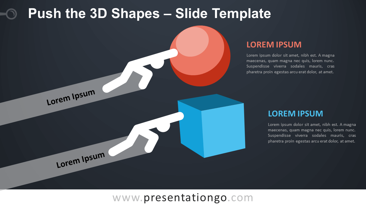 Free Push the 3D Shapes Infographic for PowerPoint and Google Slides