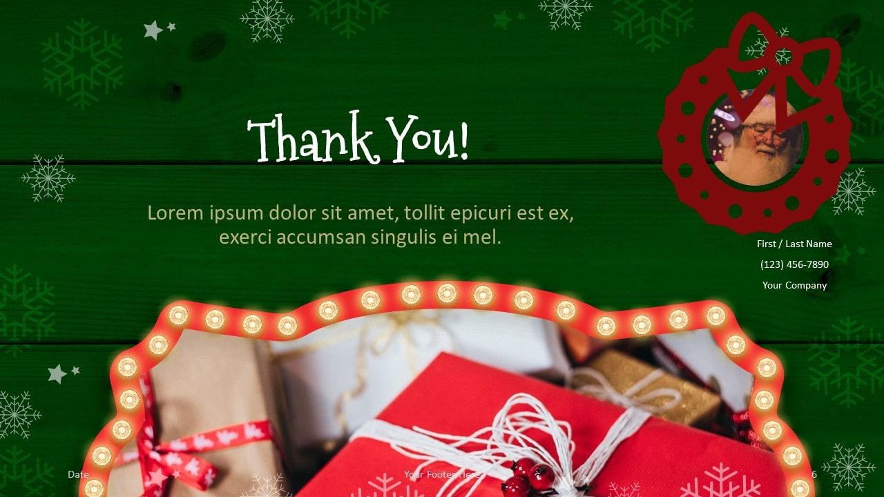 Free Christmas Frames Template for Google Slides - Closing / Thank you