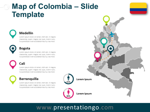 Free Colombia Map for PowerPoint