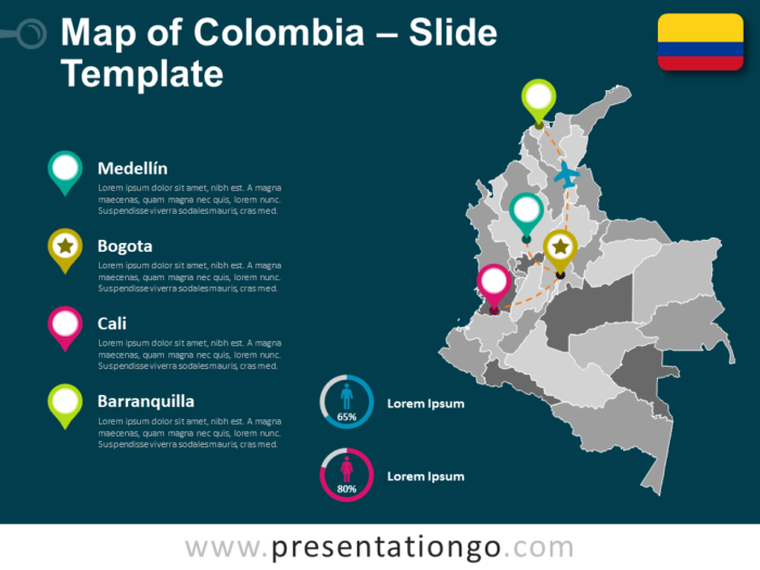 Free Colombia Map Template for PowerPoint