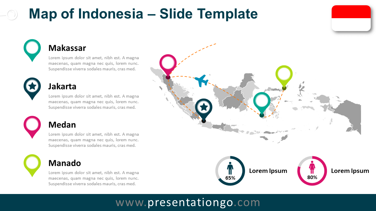 Free Indonesia Map for PowerPoint and Google Slides