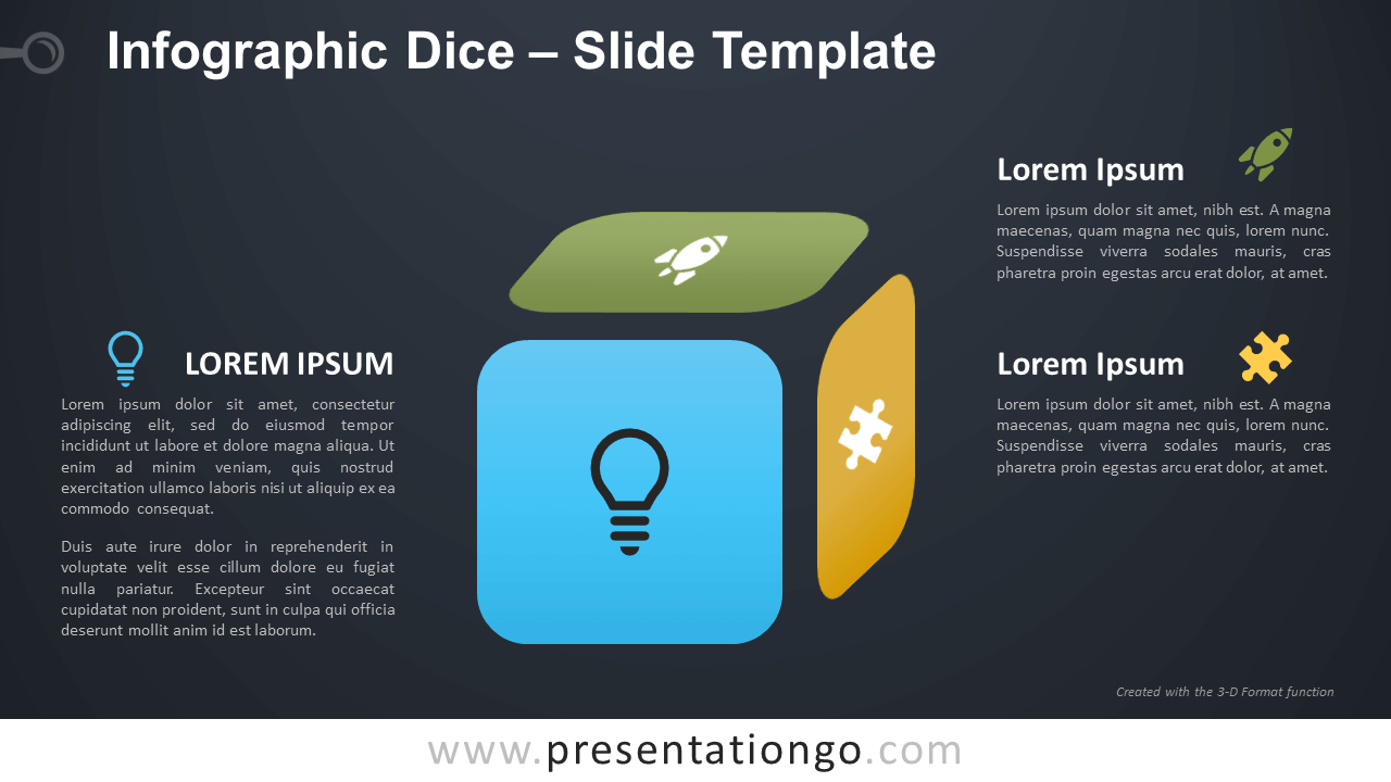 Free Infographic Dice Diagram for PowerPoint and Google Slides