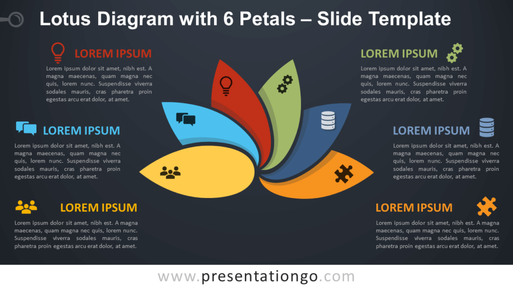 Free Lotus Diagram with 6 Petals Infographic for PowerPoint and Google Slides