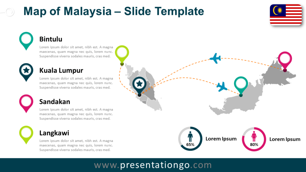 Free Malaysia Map for PowerPoint and Google Slides