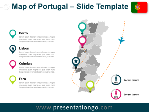 Free Map of Portugal for PowerPoint