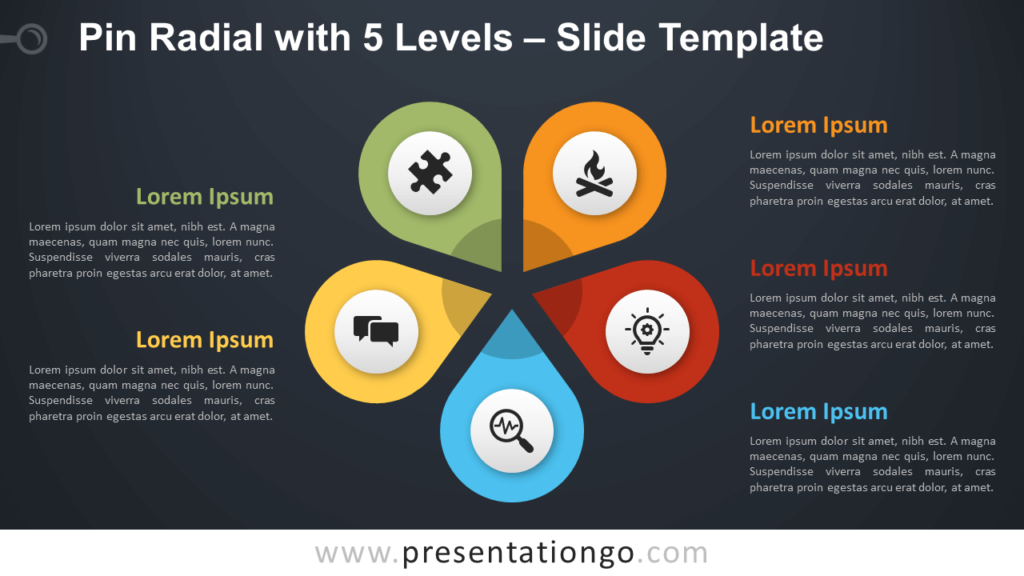 Free Pin Radial with 5 Levels Diagram for PowerPoint and Google Slides