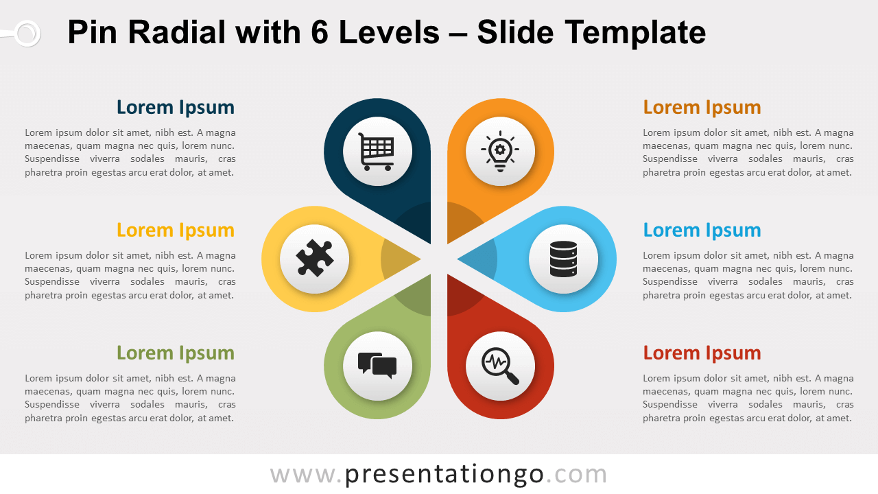 Free Pin Radial with 6 Levels for PowerPoint and Google Slides