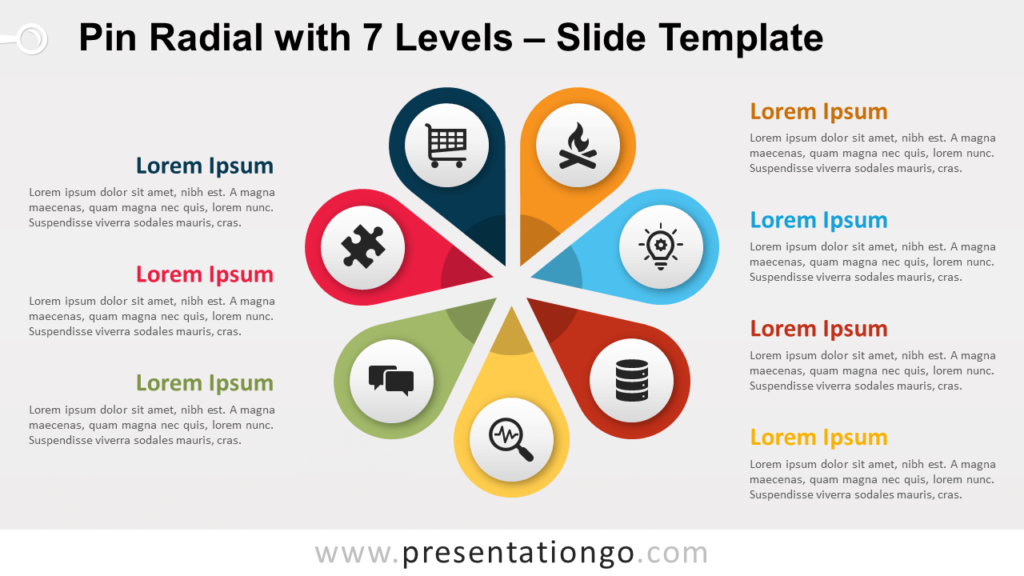 Free Pin Radial with 7 Levels for PowerPoint and Google Slides
