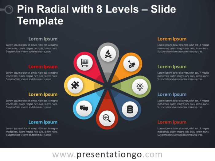 Free Pin Radial with 8 Levels Diagram for PowerPoint