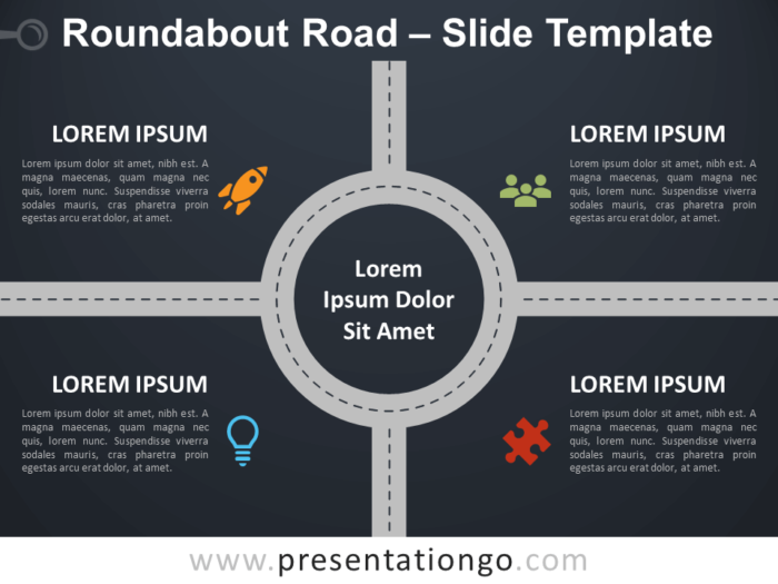 Free Roundabout Road Infographic for PowerPoint