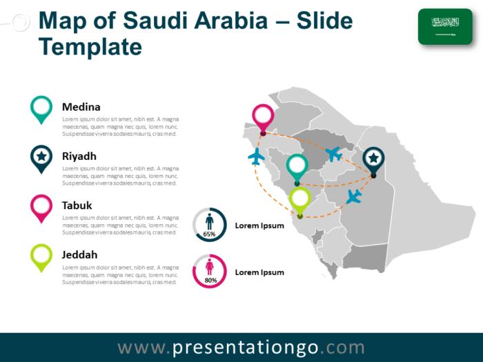 Free Saudi Arabia Map for PowerPoint