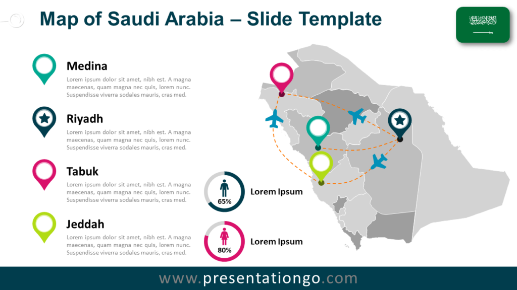 Free Saudi Arabia Map for PowerPoint and Google Slides