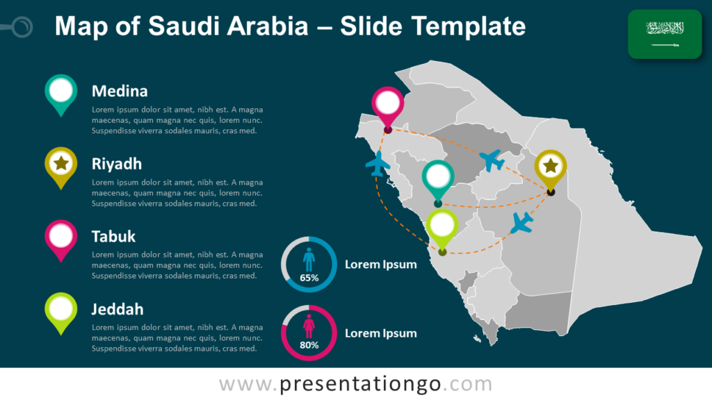 Free Saudi Arabia Map Template for PowerPoint and Google Slides