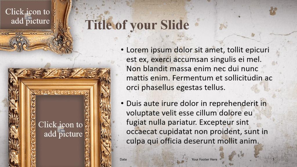 Free Renaissance Frames Template for Google Slides – Title and Content Slide (Variant 2)