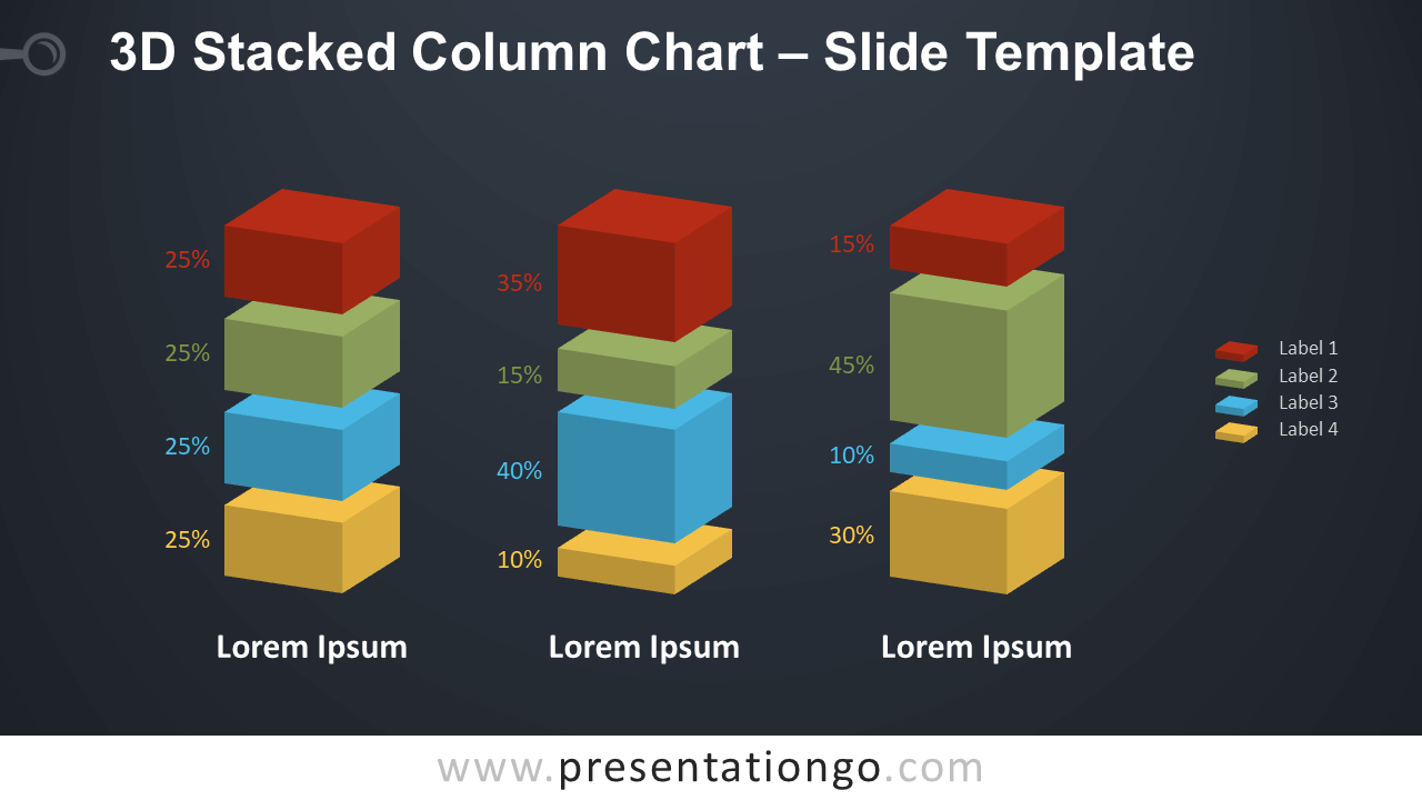 Free 3D Stacked Column Chart Diagram for PowerPoint and Google Slides