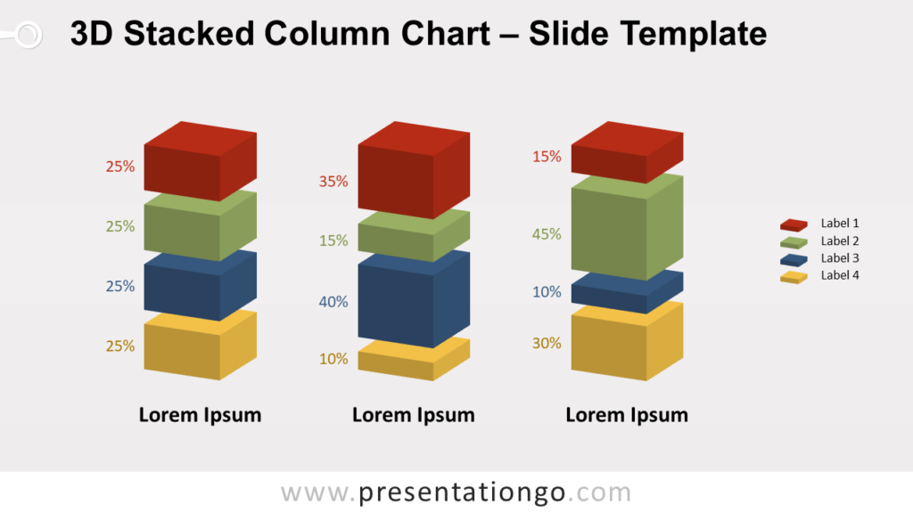 Free 3D Stacked Column Chart for PowerPoint and Google Slides
