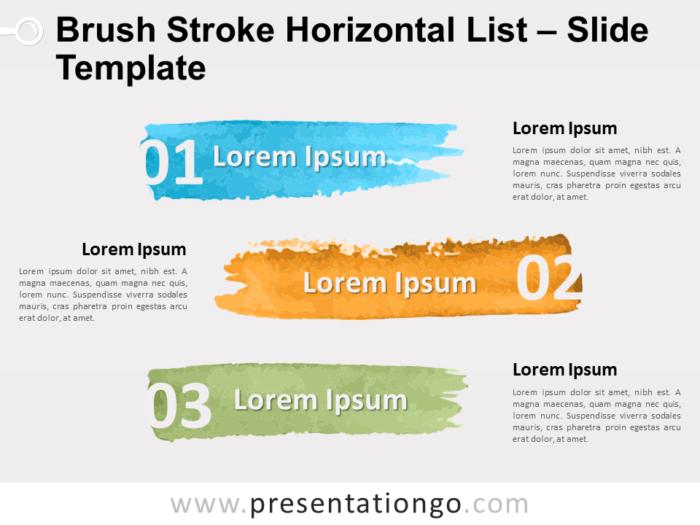Free Brush Stroke Horizontal List for PowerPoint
