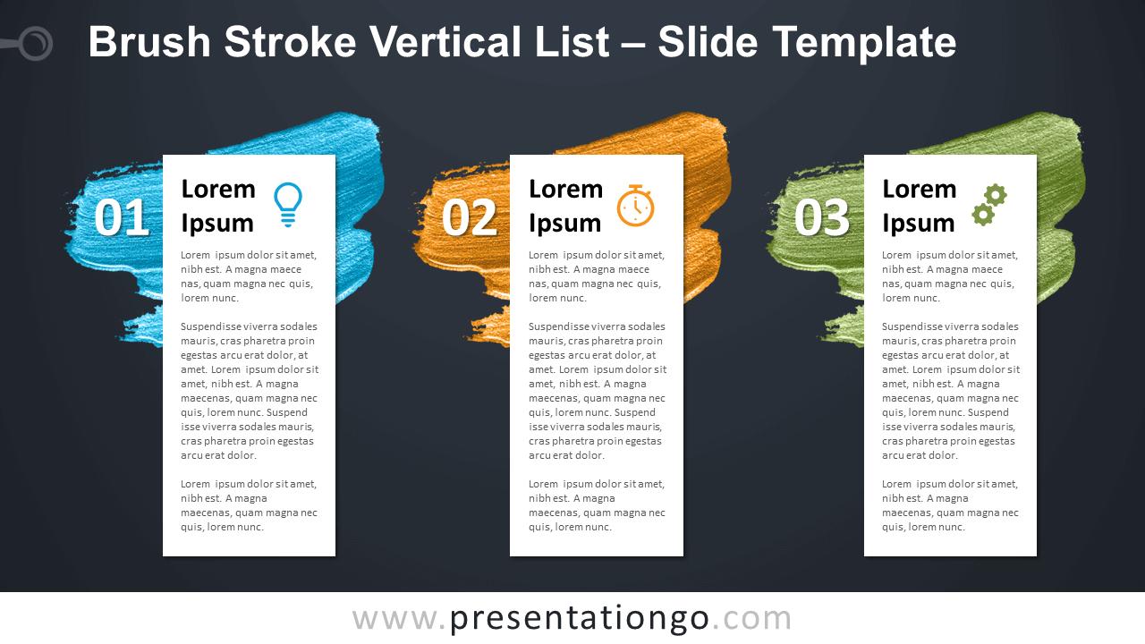Free Brush Stroke Vertical List Tables for PowerPoint Google Slides