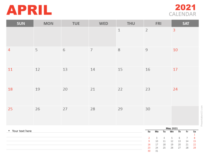 Free Calendar 2021 April Planning for PowerPoint
