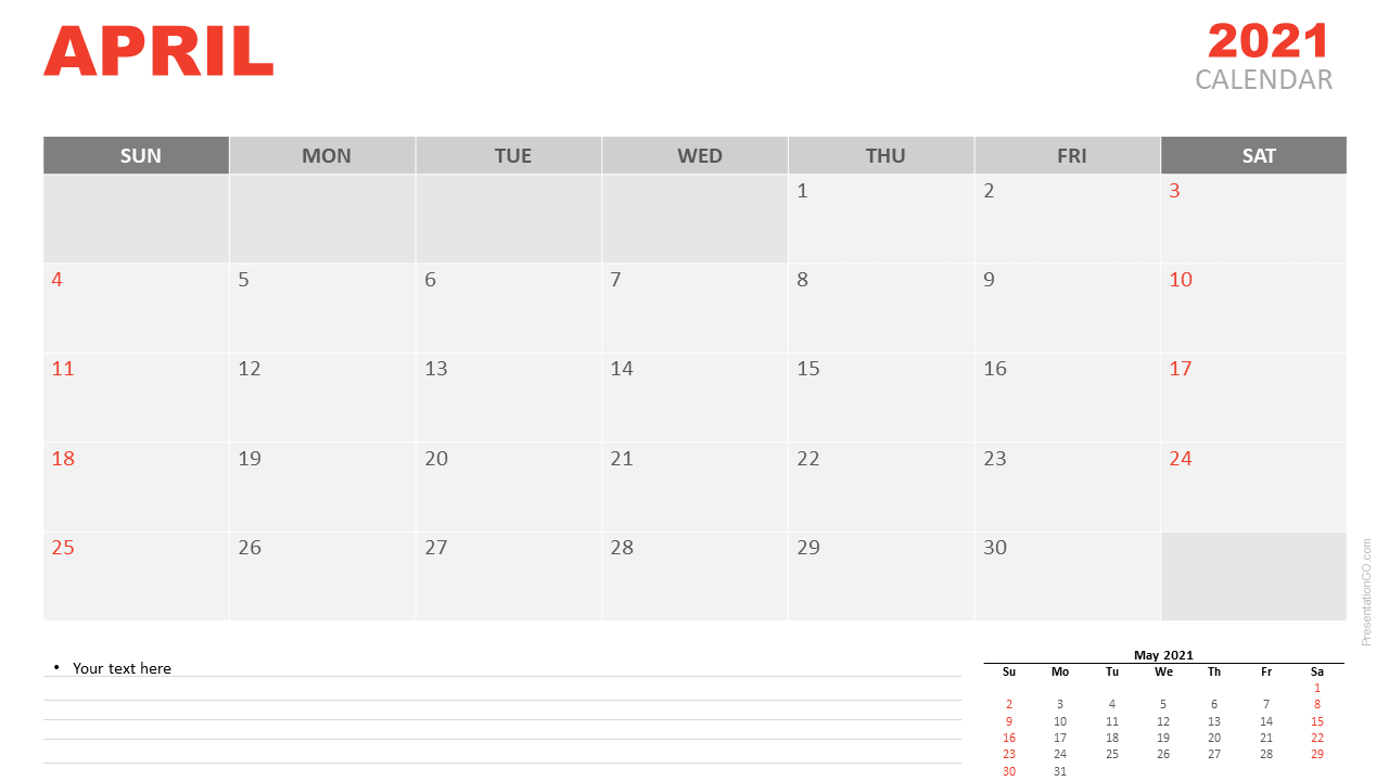 Free Calendar 2021 April Planning for PowerPoint and Google Slides
