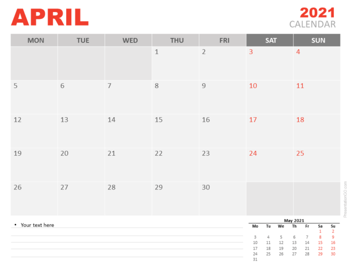 Free Calendar 2021 April for PowerPoint