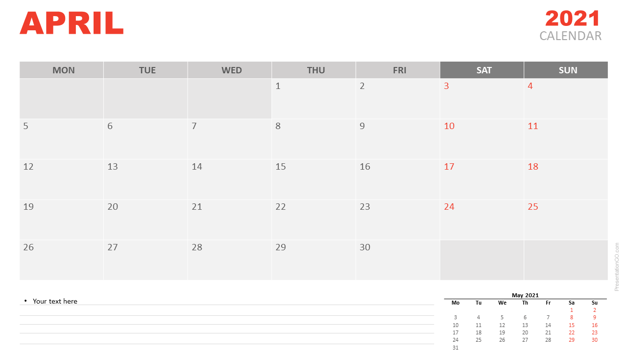 Free Calendar 2021 April for PowerPoint and Google Slides