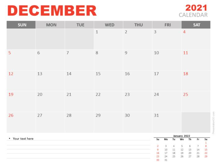 Free Calendar 2021 December Planning for PowerPoint