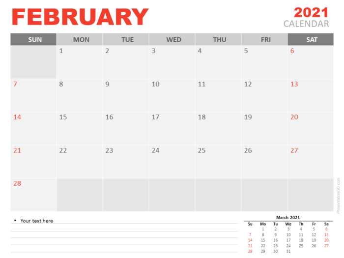 Free Calendar 2021 February Planning for PowerPoint