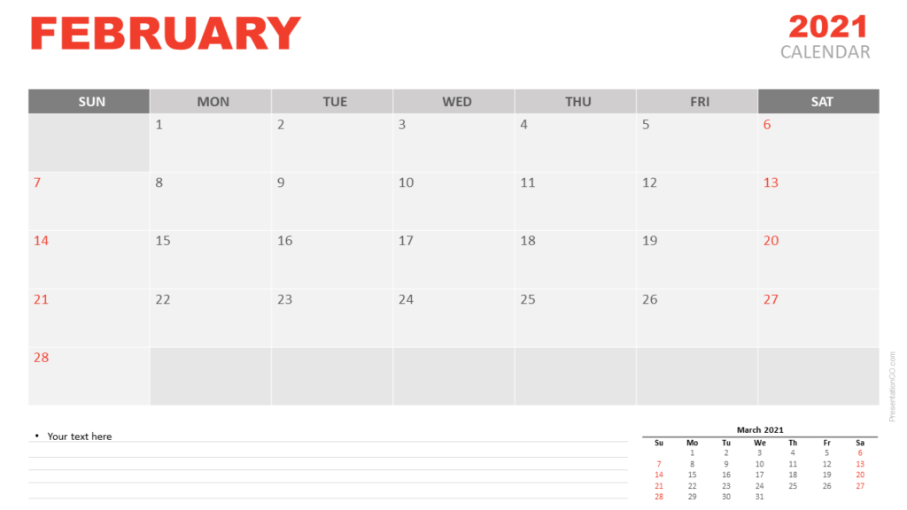 Free Calendar 2021 February Planning for PowerPoint and Google Slides