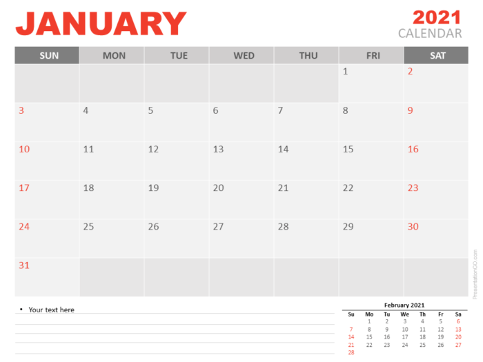 Free Calendar 2021 January Planning for PowerPoint