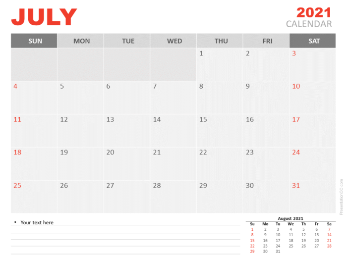 Free Calendar 2021 July Planning for PowerPoint